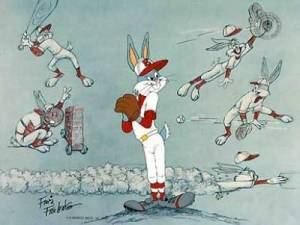 Bugs Bunny playing all the baseball positions