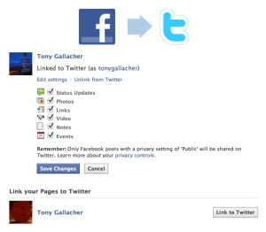 Linking Facebook with Twitter